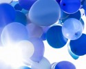 Blue balloons in the air